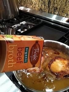 broth on pork chops